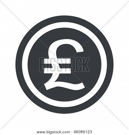Round black pound sterling sign