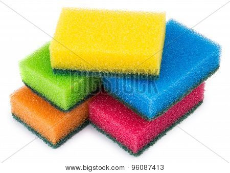 Colorful Sponge Foam With Abrasive Surface Isolated On White