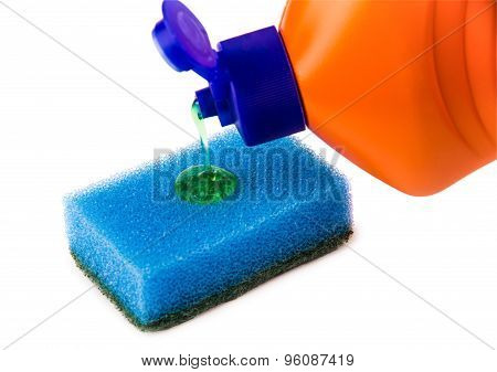 Pouring Detergent On Sponge Isolated On White