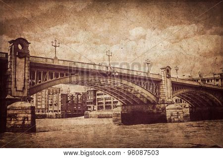Blackfrairs Bridge in sepia