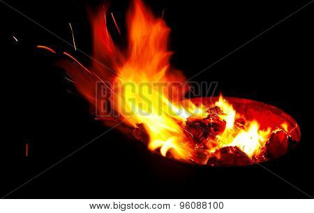 Bright Red Flame Burning In A Container