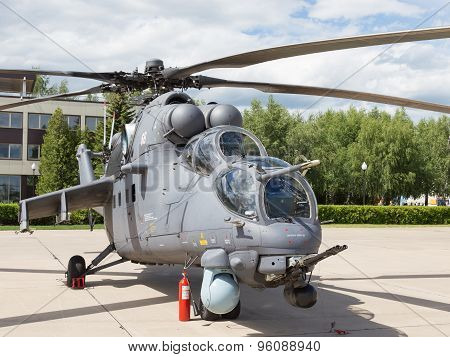 Gray Helicopter At An Airshow In Kubinka