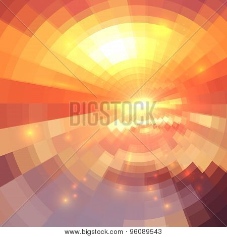 Abstract orange technology concentric mosaic background