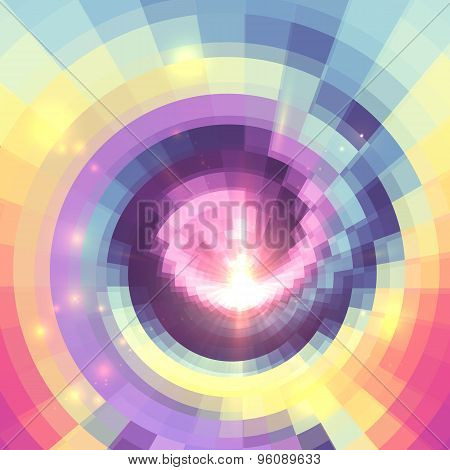 Abstract colorful technology concentric mosaic background
