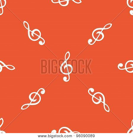Orange treble clef pattern