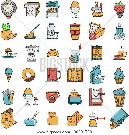 Food flat color icons vector collection