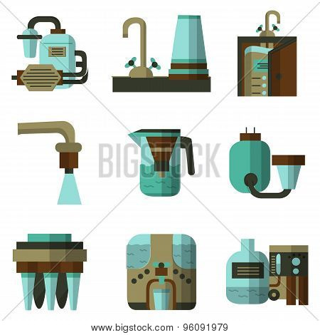 Water filters flat color vector icons