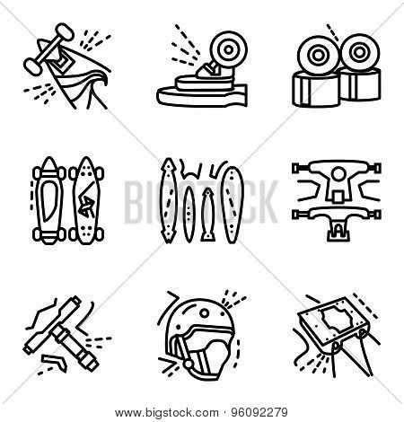 Longboard simple line vector icons set