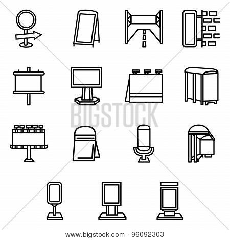 Advertising elements simple line vector icons