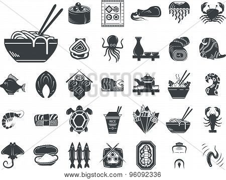 Seafood menu black monochrome vector icons