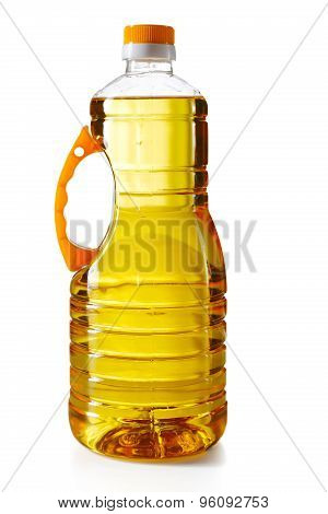 Plastic Bottle With Sunflower Oil Isolated On A White Background