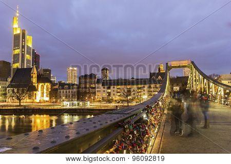 View On Frankfurt Am Main In Germany From Eiserner Steg