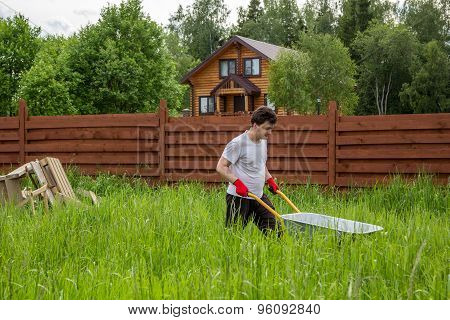 Man Carries A Wheelbarrow Through A Thicket Of Grass