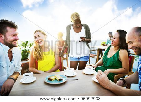 Group Friends Chilling Talking Holiday Concept