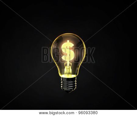Light bulb with dollar sign inside on dark background