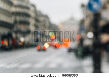 Defocused View Of Avenue De L'opara In Paris, Franc
