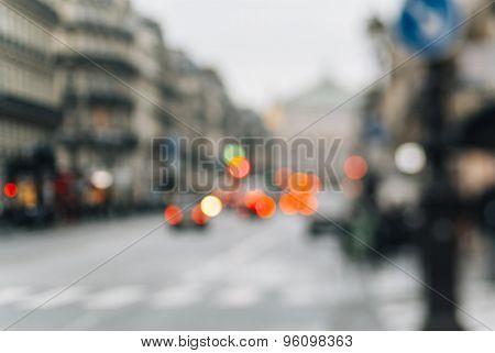 Defocused View Of Avenue De L'opara In Paris, Franc