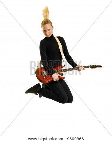 Woman Guitarist Jumps
