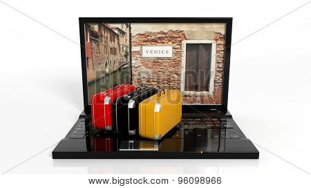 Suitcases on black laptop keyboard with Venice on screen, isolated