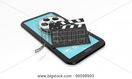 Clapperboard and film reel on black tablet screen isolated on white