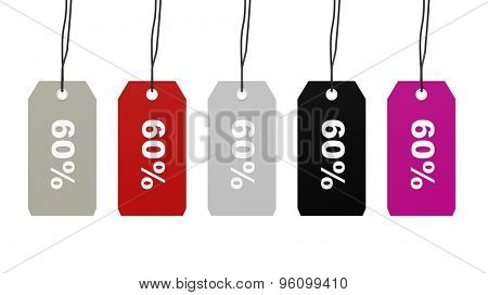 Colorful hanging sales tags with sixty percent discount isolated on white background