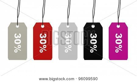 Colorful hanging sales tags with thirty percent discount isolated on white background