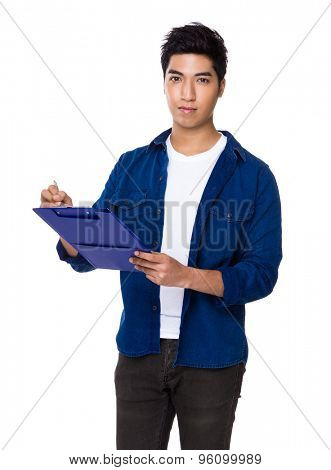 Chinese mixed iranian man write on the file board