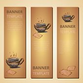 foto of teapot  - Banners with teapot and cup of tea tea time vector - JPG