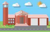 pic of fire-station  - Flat design vector illustration of fire station building in flat design style vector illustration - JPG