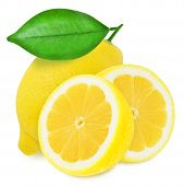 foto of section  - Three juicy yellow lemon with leaf sections isolated on a white background - JPG