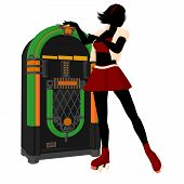 pic of jukebox  - Girl on roller skates standing near a jukebox silhouette on a white background - JPG