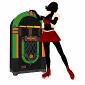 stock photo of jukebox  - Girl on roller skates standing near a jukebox silhouette on a white background - JPG