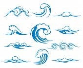 Waves of sea or ocean waves, vector illustration poster