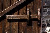 picture of wooden door  - Old wooden door with wooden latch Mostovo Bulgaria - JPG