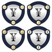 picture of yen  - Set of four abstract icons with golden screws and yen symbol - JPG