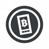 image of bitcoin  - Bitcoin symbol on smartphone screen in circle - JPG