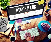 foto of benchmarking  - Benchmark Standard Management Improvement Benchmarking Concept - JPG