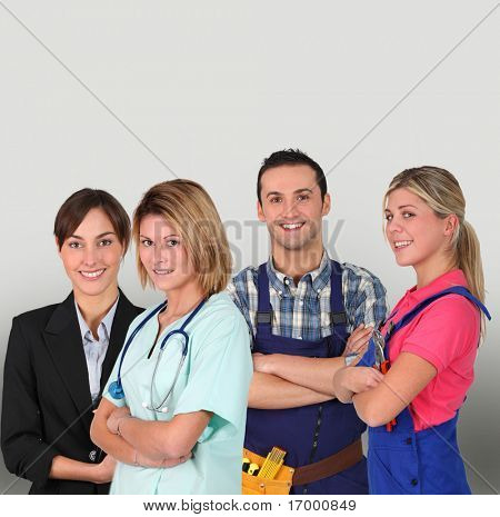 Group of young professional people on white background