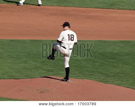 Pitcher Matt Cain Lifts Leg To Throw Pitch
