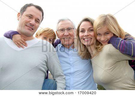 Family portrait standing outside