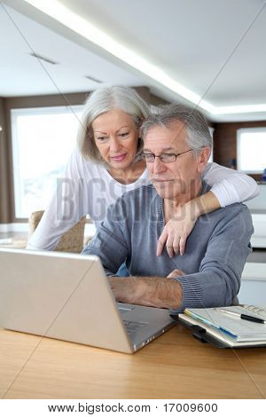 Senior couple making secured payment on internet