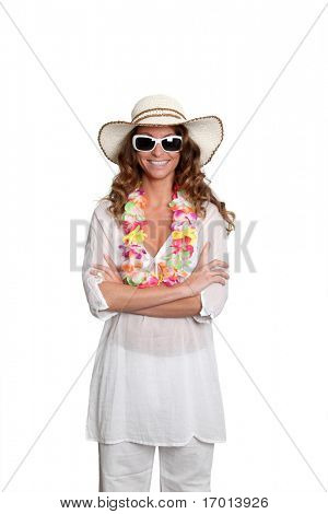 Happy Woman wearing hawaiian outfit