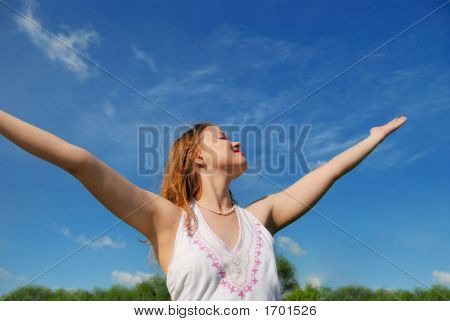 Girl Over Blue Sky