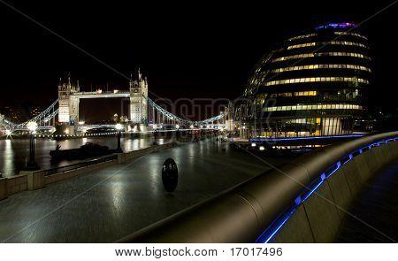London Tower Bridge and city hall at night