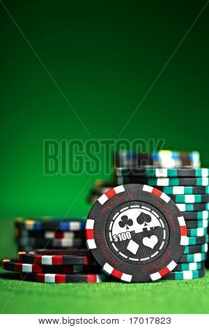 gambling chips with copy space...