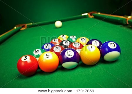 billiard balls, ready for the break