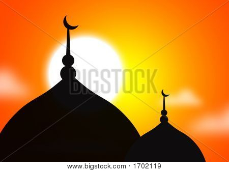 Mosque Silhoutte Against Sunset