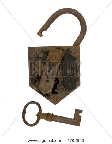 Ancient Padlock And Key