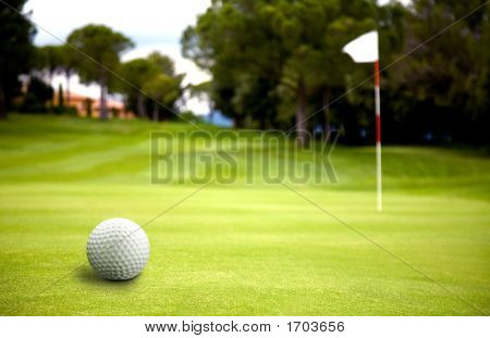 Golf Ball Near The Putting Green