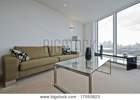 contemporary living room with floor to ceiling window and city views